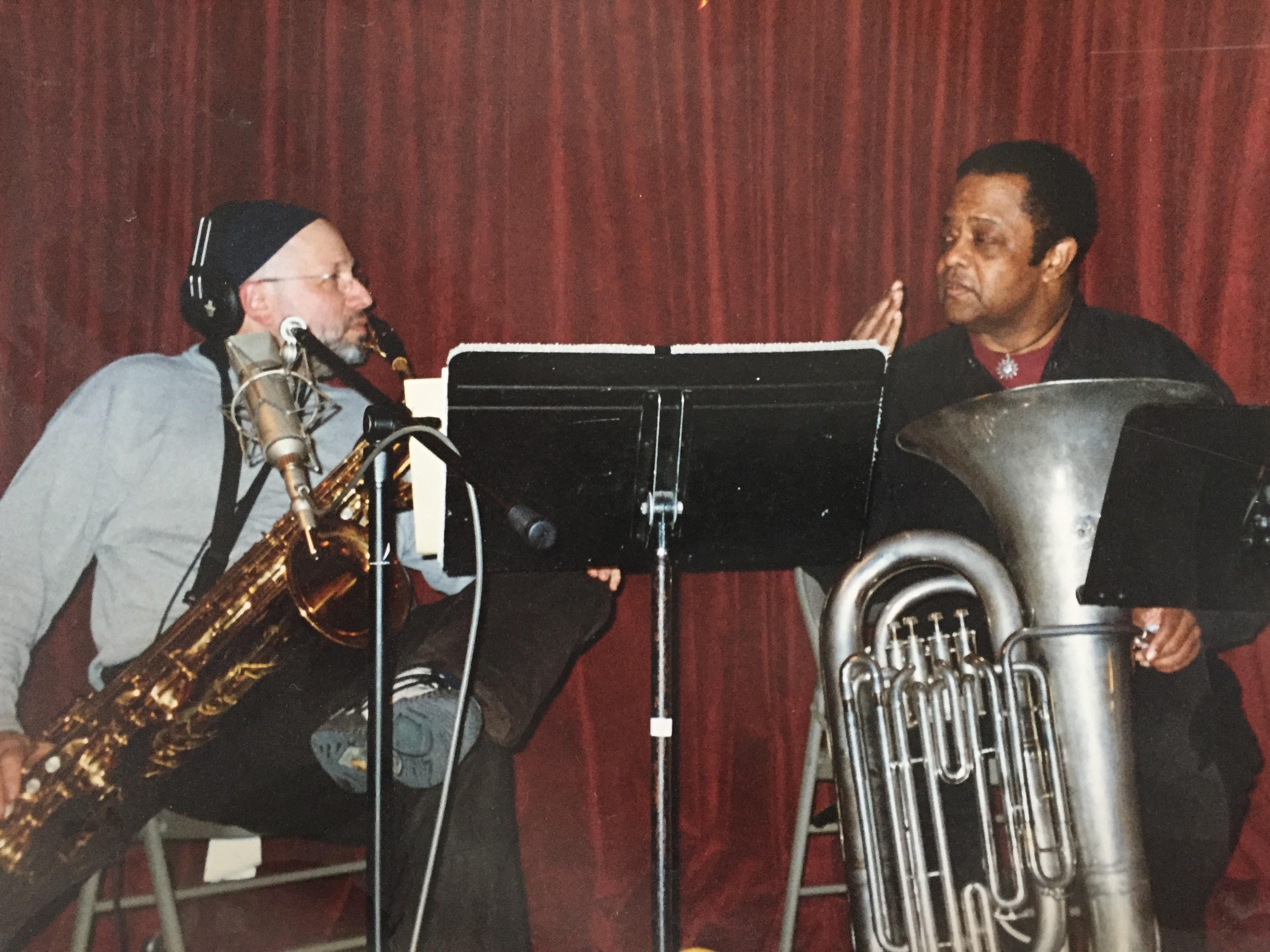 Steve Elson recording with Howard Johnson